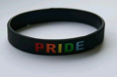 Gay Pride Silicone Wristband Bracelet Black with Rainbow Letters LGBT Lesbian UK