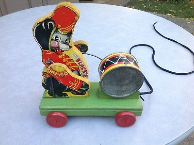 """Vintage1939 Fisher Price """"BLACKIE THE DRUMMER"""" Wooden Pull Toy - VERY RARE!!"""
