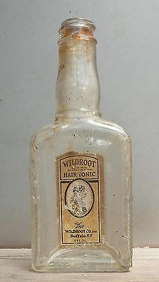 HAIR OIL BOTTLE-Wildroot Hair Tonic-Small Size-Embossed-Paper Label-Indian-1920s