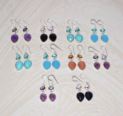 10Pcs Wholesale Lot!! 925 Silver Plated Turuoise & Mix Gemstone Earrings