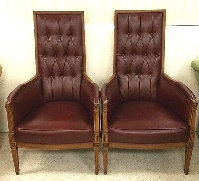 Pair of Vtg Mid Century Modern Burgundy Throne Style Arm Chairs Tufted High Back