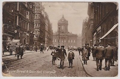 Castle Street & Town Hall Liverpool  Old Postcard