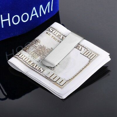 Silver High Quality Slim Money Clip Credit Card Holder Wallet Stainless Steel PL