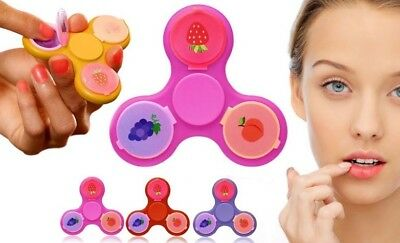 AQ Finger Fidget Spinners with 3 Fruit Flavoured Lip Balms - Pink Purple Red