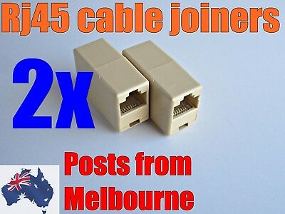 2X RJ45 joiners/cable extenders for Cat5, Cat5e. Cat6 cables