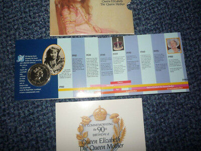 1990 QUEEN MOTHER £5 COIN - 90th BIRTHDAY -