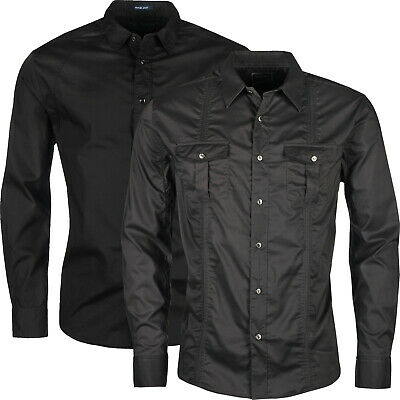 New Mens Military Surplus Style Shirt Army Raw Long Sleeve Button Up Cotton Top