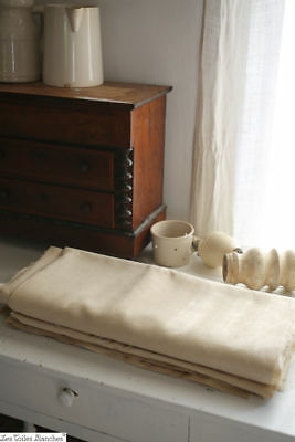 RARE antique French wide FIL OF LINEN yardage UNBLEACHED c1900