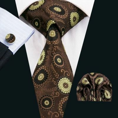 BNWT Mens Brown Gold Paisley Silk Work Tie Handkerchief Hanky Cufflinks GIFT SET