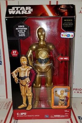 "Star Wars C-3PO C3PO Anamatronic Interactive Figure Voice Activated New 17"" R1C"