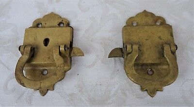 2 Antique Victorian Ornate Cabinet Latches Cast Iron & Brass Plated