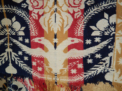 1850 American Woven Coverlet Gabriel Rausher Double Headed Eagles, Doves, Palms