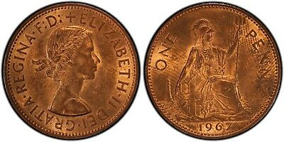 1967 One Penny PCGS MS64RB