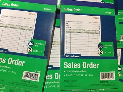 10 Adams DC5805 Carbonless Duplicate Sales Order Invoice Books 500 Sets total