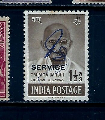 1948 INDIA,OFFICIAL,SG0150a CAT £90 KGVI,1 1/2 ANNA GANDHI SERVICE OVPT. SIGNED
