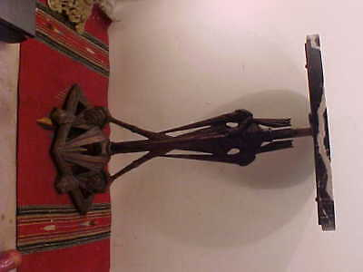 Rare Circa 1900 Very Art Deco  Marble Top Table Plated Iron Stylized Birds Base