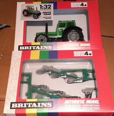 BRITAINS Deuce dx92 tractor 9526 plus front and rear mounting ploughs 9549
