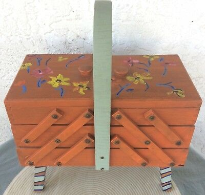 Vintage Wood Hand Painted Accordion Style Sewing Box Marked FABRIOUS EN ROUMANIE