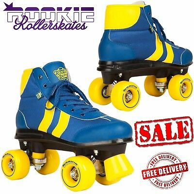 Rookie Retro V2 Adult Quad Rollerskates Derby Roller Skates Blue Yellow UK Sizes