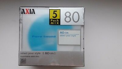 AXIA MD IM 80 minidisc, 5 color mix.  made in japan, very rare!