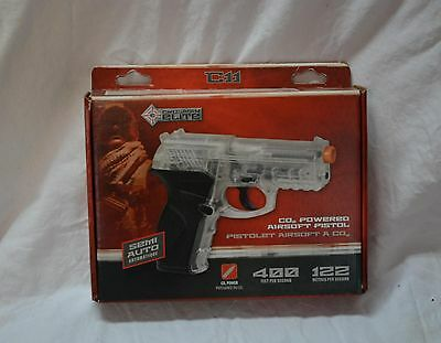 Crosman elite Co2 Powered Tactical Airsoft pistol clear/black semi-auto (#bte48)