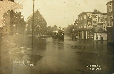 Trams In The Floods At Stanley Road Twickenham Middlesex Early Rp Pc