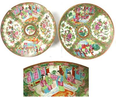 Two Antique 19Th Century Chinese Canton Famille Rose Plates