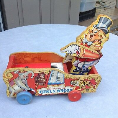 """Vintage Fisher Price Early 1940's  """"CIRCUS WAGON""""  Musical Wooden Pull Toy- RARE"""