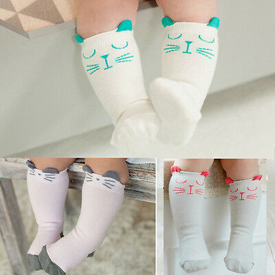 1 Pair Newborn Toddler Knee High Sock Baby Boy Girl Socks Anti Slip Cute Cat FT