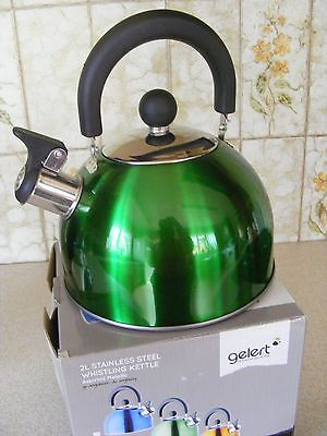 Gelert 2L Stainless Steel Whistling Kettle Metallic Green