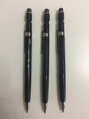 Vintage Lot of 3 American Classic Mechanical Pencils .9 MM Lead Black USA made