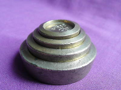 ANTIQUE VICTORIAN SET OF 4 BRASS STACKING WEIGHTS  2 oz to 1/4 oz, EAST SUFFOLK