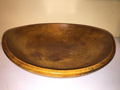 Antique American Primitive Wood Carved Bread Dough Mixing Bowl 12""