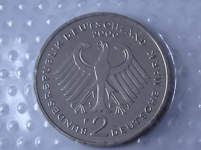 2 Deutsche Mark - aus KMS in Folie, 2000 F, ST, Willi Brandt