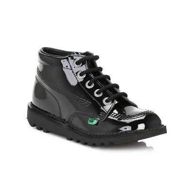 Kickers Juniors Ankle Boots Black Kick Hi Patent Leather Kids Casual Shoes