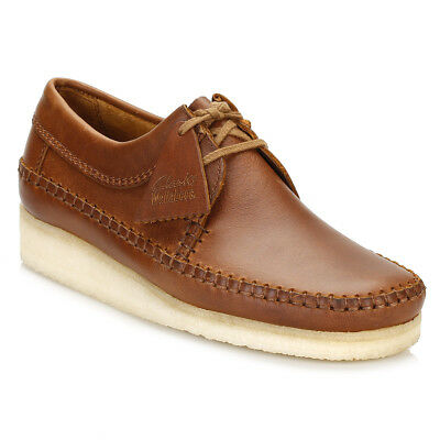 Clarks Mens Tan Weaver Brown Leather Shoes Lace Up Casual