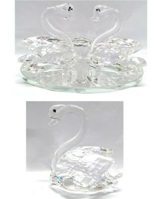 New Crystal Cut Clear Glass Single Swan Two Swans Home Wedding Decor Gift