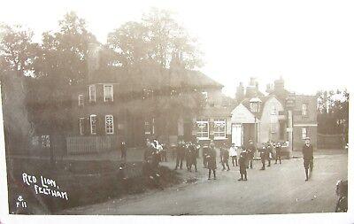 Edwardian Youngsters At The Red Lion Inn Feltham Middlesex 1911 Rp Pc