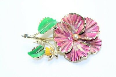 Vintage Purple Pansy Yellow Flower Hand Painted Brooch by Exquisite (c1950s)