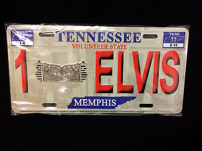 Elvis Presley The King Metal License Plate Memphis Tennessee Souvenir 77 NEW