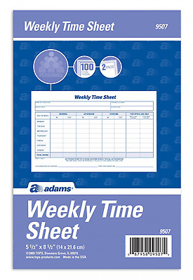 Adams Weekly Time Sheet, 1-Part, 5.5 x 8.5 Inches, Blue/White, 100 Sheets Pad x2