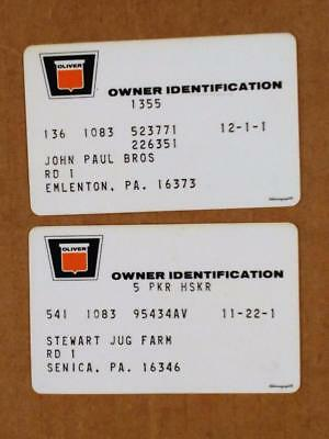 7210-6-----early 1970s Oliver owner warranty cards lot of 2