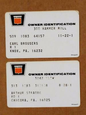 7210-5-----early 1970s Oliver owner warranty cards lot of 2