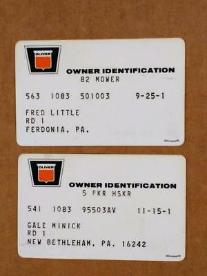 7210-4-----early 1970s Oliver owner warranty cards lot of 2