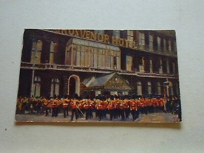 Old Postcard Art Changing of the Guards passing Grosvenor Hotel London