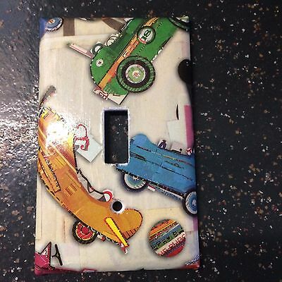 Single Toggle Switch Plate Cover Vintage Cars Planes Child's Room