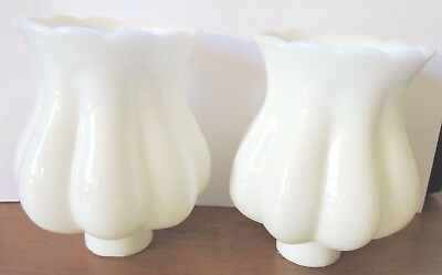 """Milk Glass Lamp Shade Scalloped 6""""  Vintage Sconce"""