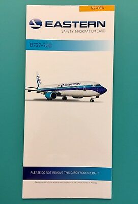 Eastern Airlines Safety Card-- 737-700 Super Rare Card From The New Eastern!!