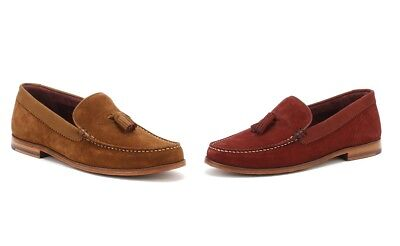 Ted Baker Mens Nubuck/Suede Dougge Shoes, Dark Red or Tan Brown Slip On Loafers