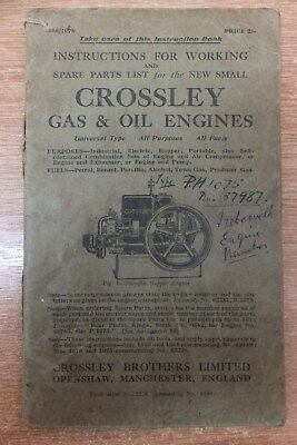 crossley 1060-1075 gas & oil engines instructions for working & parts list book